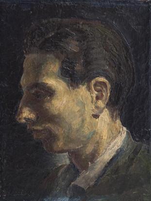 """Jesus de Perceval (Almería, 1915 – 1985) """"Retrato de Capuleto"""".1947. Óleo y encáustica sobre tabla, 36x28 cms. Colección Familia Capulino Jaramillo"""