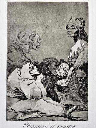 """""""Obsequio al maestro"""" Grabado 47 de la serie Los Caprichos 1799. Décima edición (1918) Aguafuerte y aguatinta 22 x 15,3 cms. (huella)"""