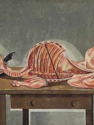 """Francisco Capulino,Capuleto (Almería, 1928-2004) """"Cordero desollado"""". 1956. Óleo sobre lienzo, 100x130 cms."""