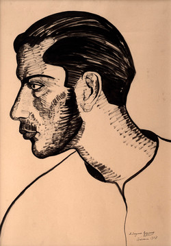 EZQUERRO Cabeza de joven 1928 tinta-papel