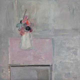 """""""Florero con mesa rosa"""" 1995. Óleo sobre lienzo 89x89 cms."""
