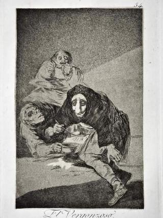 """""""El vergonzoso"""" Grabado 54 de la serie Los Caprichos 1799. Décima edición (1918) Aguafuerte y aguatinta 22 x 15,3 cms. (huella)"""