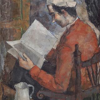 """Estudiante con gorro blanco"" 1947. Óleo sobre lienzo 75x57,5 cms."