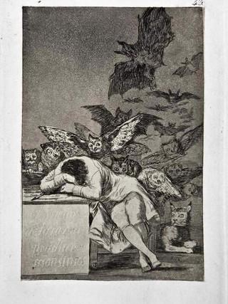 """""""El sueño de la razón produce monstruos"""" Grabado 43 de la serie Los Caprichos 1799. Décima edición (1918) Aguafuerte y aguatinta 22 x 15,3 cms. (huella)"""