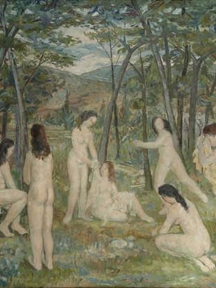 """Francisco Capulino,Capuleto (Almería, 1928-2004) """"Desnudos en el campo"""".1950. Óleo sobre tela, 85x100 cms."""