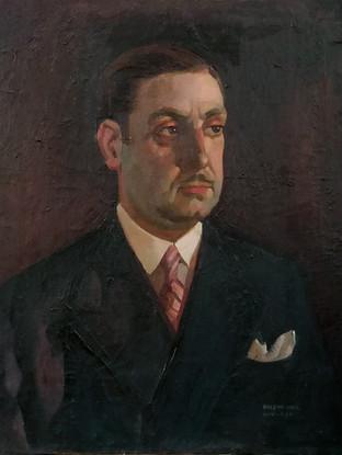 """Balbino Giner García (Valencia, 1910 - Colliure, 1976) """"Retrato de hombre"""". 1930. Oleo sobre lienzo. 54x51 cms"""
