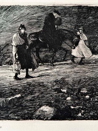 "Ricardo Baroja y Nessi (Minas de Río Tinto, Huelva, 1871 - Vera de Bidasoa, Navarra, 1953) ""Cura a caballo"" C.1910 Aguafuerte y aguatinta bruñida. 13,5x21,5 cms."