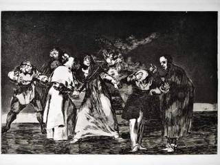 """""""Disparate triple"""". Serie Los Disparates. 1815 - 1823. Primera edición (1864) Aguafuerte. y aguatinta. Huella 21x32 cms."""