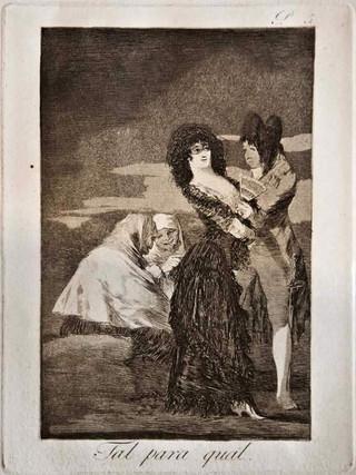 """""""Tal para cual"""" Grabado 5 de la serie Los Caprichos 1799. Décima edición (1918) Aguafuerte y aguatinta 22 x 15,3 cms. (huella)"""