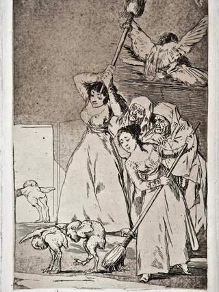 """""""Ya van desplumados"""" Grabado 20 de la serie Los Caprichos 1799. Décima edición (1918) Aguafuerte y aguatinta 22 x 15,3 cms. (huella)"""