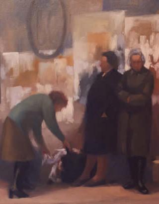 """Luis Cañadas Fernández (Almería, 1928 - 2015) """"Esperando el autobús"""". C. 1980. Óleo sobre tela. 60x81 cms."""