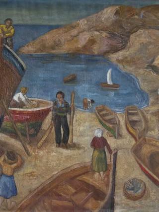"Antonio López Díaz (Almería, 1928 - 2015) ""Paisaje con barcas"".1947. Óleo sobre tela. 60x81 cms."