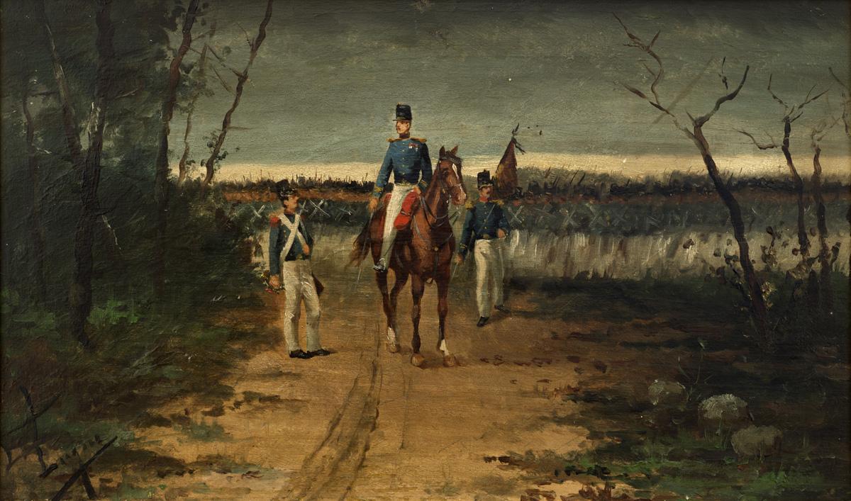 LUQUE Soldados circa 1900 oleo-tabla