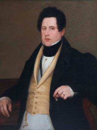 """ANTONIO MARÍA ESQUIVEL Y SUÁREZ DE URBINA (Sevilla, 1806 – Madrid, 1857). """"Retrato de caballero desconocido"""" Óleo sobre lienzo. 92x77 cms"""