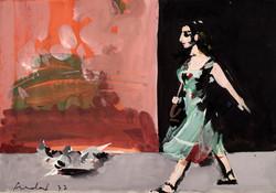 CARLOS PRADAL Mujer caminando y palomas 1977 tempera-papel
