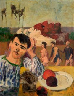 CASTELLON Paul con cabezas 1965 oleo-lienzo
