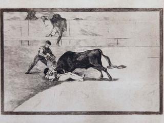 """""""La desgraciada muerte de Pepe Illo en la plaza de """". Serie La Tauromaquia. 1815 - 1816. Tirada de 1983, Calcografía Nacional.  Aguafuerte. y aguatinta. Huella 25x35 cms."""