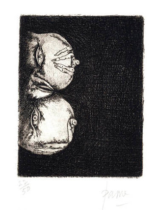 """PETER PAONE (1936) Serie realizada junto a Castellón """"Alfabeto Erótico. Letra B"""" 1969-1971. Aguafuerte y aguatinta 11 x 9 cm (huella)"""