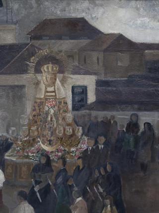 Amalia Avia Peña (Santa Cruz de la Zarza, 1930 – Madrid, 2011) Procesión. 1959. Óleo sobre cartón. 75 x 105 cm.