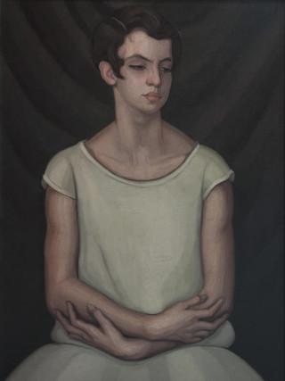"""José Segura Ezquerro (Almería, 1897 – Cuba, 1963). Retrato de muchacha"""".C.1930. Óleo sobre lienzo. 81x60 cms."""