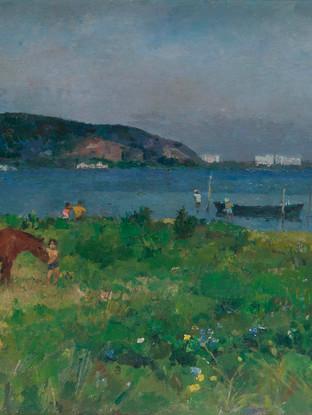 """Josep María Mallol Suazo (Barcelona, 1910 - 1986) """"Marina, Brasil"""".1972. Oleo sobre lienzo. 60x92 cms."""