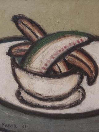 """Ginés Parra (Zurgena, Almería, 1896 – París 1960) """"Bodegón de los plátanos"""". 1951. Óleo sobre lienzo, 55x65 cms."""