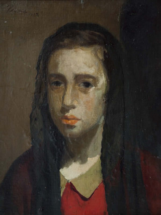 """Pere Pruna Ocerans (Barcelona, 1904 – 1977) Cabeza de joven"""",1922. Óleo sobre lienzo pegado a cartón. 40x30 cms."""