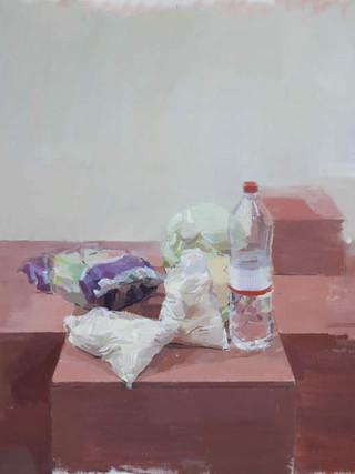 """EDUARDO MILLÁN SAÑUDO (Jerez de la Frontera, Cádiz, 1979) """"Bodegón"""" (2012). Óleo sobre tela, 81x100 cms."""