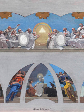 Vision del Apocalipsis. Boceto para la cúpula y ábsides del Santuario del Saliente.
