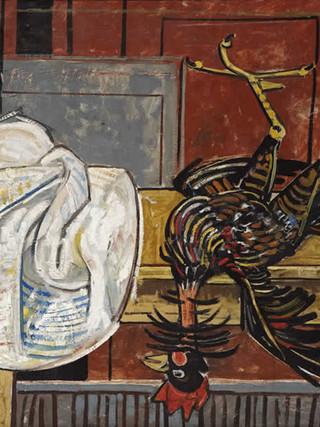 """Francisco Capulino,Capuleto (Almería, 1928-2004) """"Gallo muerto"""".1953. Óleo sobre lienzo, 85x109 cms."""