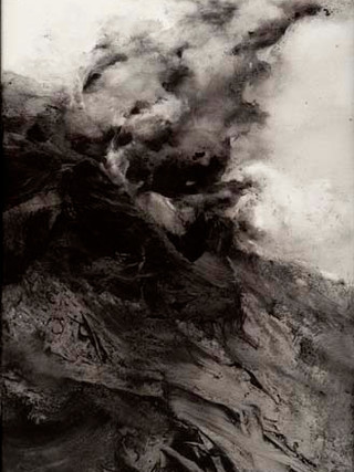 """Toña Gómez (Málaga, 1954) """"Fuego"""". 2002. Acrílico sobre lienzo. 130x35 cms."""