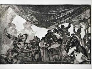 """""""Disparate claro"""". Serie Los Disparates. 1815 - 1823. Primera edición (1864) Aguafuerte. y aguatinta. Huella 21x32 cms."""