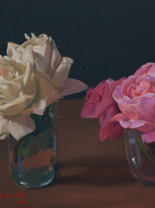 Bodegón con rosas.