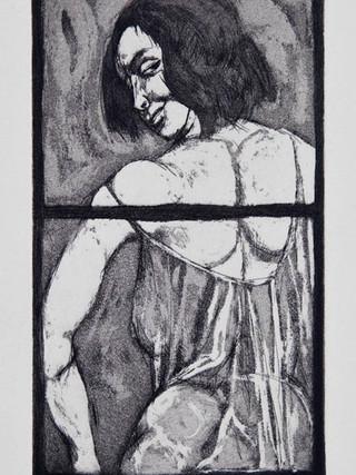 """Gaby C"" 1965. Aguafuerte y aguatinta 18 x 10 cm (huella)"