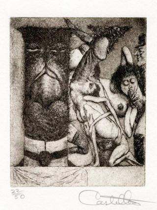 """""""Alfabeto Erótico. Letra K"""" 1969-1971. Aguafuerte y aguatinta 11 x 9 cm (huella)"""