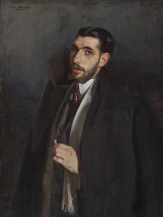"""JOSÉ MARÍA LÓPEZ MEZQUITA (Granada, 1883 - Madrid, 1954). """"Retrato del pintor Francisco Posada Moreno"""". 1907. Óleo sobre lienzo. 99x71 cms."""
