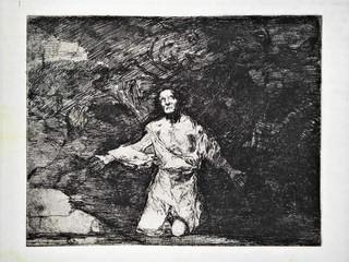 """""""Tristes presentimientos de lo que ha de acontecer"""". Grabado 1 de la serie Los Desastres de la Guerra 1810 - 1815. Primera edición (1863) Aguafuerte. Huella 15x20 cms."""