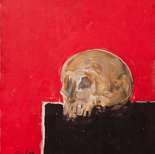 """Cráneo, mesa negra, fondo rojo"" 1990. Óleo sobre lienzo 56x43 cms."