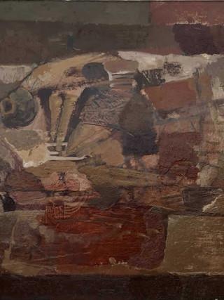 """Alfonso Fraile (Marchena 1930 – Madrid 1988) """"Pintura"""" (Composición con pez). 1960. Óleo sobre tela, 35x44 cms."""