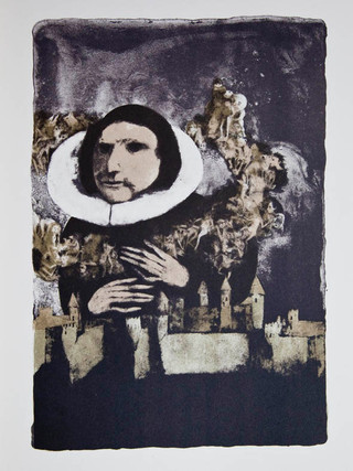 """""""La Máscara de la Muerte Roja"""" 1969. Litografía 30 x 20'5 cm (huella)"""