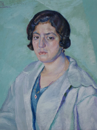 "Benjamín Palencia (Barrax, 1894 – Madrid, 1980) ""Retrato de Carmen Herreros"". 1924. Óleo sobre tela, 60x55 cms."