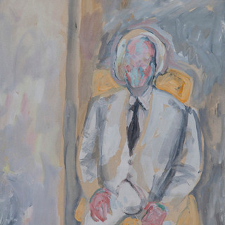 """El hombre del pelo blanco"" 1989. Óleo sobre tabla 56x43 cms."