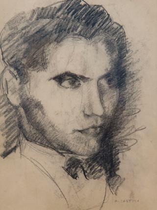 """Antonio Campillo Párraga (Murcia, 1926 – 2009) """"García Lorca"""". 1969. Grafito sobre papel. 39x27 cms."""