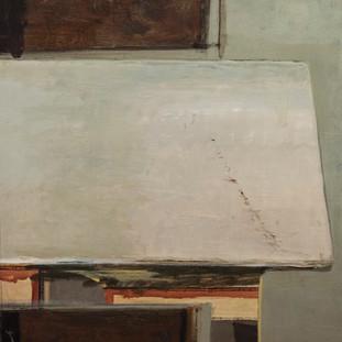 """""""Mesa de mármol"""" 1975. Óleo sobre lienzo 81x65 cms."""