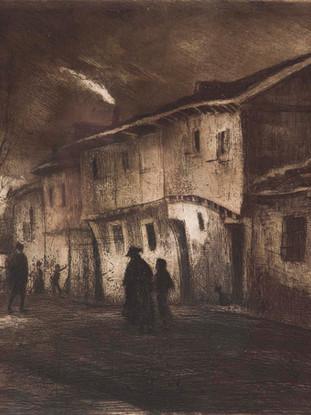 """Ricardo Baroja y Nessi (Minas de Río Tinto, Huelva, 1871 - Vera de Bidasoa, Navarra, 1953) """"Calle de Almazán"""" C.1910 Aguafuerte y aguatinta bruñida. 13,5x21,5 cms."""
