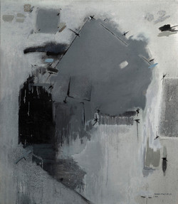 PACO_EGEA_-_Composición.Gris_(1999)_técnica_mixta_sobre_arpillera