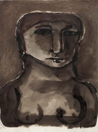 """Ginés Parra (Zurgena, Almería, 1896 – París 1960) """"Busto de mujer"""" (1940). Sanguina y gouaché sobre papel, 32x24,5 cms."""