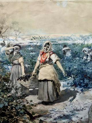 """MANUEL BENEDITO Y VIVES (Valencia, 1875 – Madrid, 1963) """"La vendimia"""" (Hacia 1900). Acuarela y gouache sobre papel, 48x62 cms."""