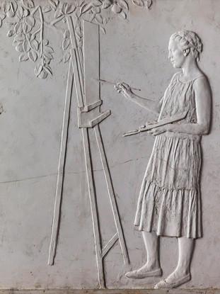 "Francisco López Hernández (Madrid, 1932 - 2017) ""Ana Ortiz pintando"". 1987. Escayola. 57x54 cms."