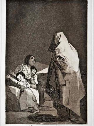"""""""Que viene el coco"""" Grabado 3 de la serie Los Caprichos 1799. Décima edición (1918) Aguafuerte y aguatinta 22 x 15,3 cms. (huella)"""
